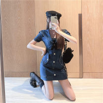 Dress Spring 2021 Blue m, blue s Average size Other / other 30% and below polyester fiber