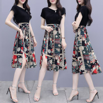 Dress Summer 2021 Red Chinese knot, black Daisy M,L,XL,2XL,3XL singleton  Short sleeve commute Crew neck Decor routine Korean version Frenulum