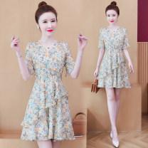 Dress Summer 2021 Purple, broken flowers S,M,L,XL,XXL Short skirt singleton  Short sleeve