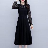 Dress Spring 2021 black M [90-105 Jin], l [105-115 Jin], XL [115-130 Jin], 2XL [130-145 Jin], 3XL [145-160 Jin], 4XL [160-180 Jin], 5XL [180-200 Jin] Mid length dress Fake two pieces Long sleeves commute Crew neck Solid color other routine Korean version zipper