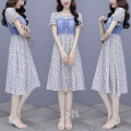 Dress Summer 2021 Orange flowers, blue flowers M,L,XL,2XL Mid length dress Fake two pieces Short sleeve
