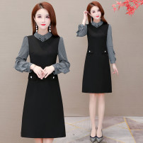 Dress Spring 2021 black L,XL,2XL,3XL,4XL Mid length dress singleton  Long sleeves
