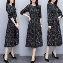 Dress Autumn 2020 black S,M,L,XL,2XL Mid length dress singleton  Long sleeves commute Crew neck Others Type A Korean version