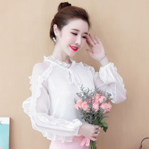 Lace / Chiffon Spring 2020 White, red S,M,L,XL,2XL Long sleeves Versatile Socket singleton  Super short Lotus leaf collar Solid color Lotus leaf sleeve Other / other bow