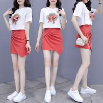 Dress Summer 2021 Picture color S,M,L,XL,XXL Short skirt Two piece set Short sleeve polyester fiber
