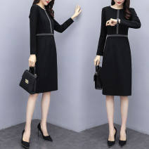 Dress Spring 2021 black S,M,L,XL,2XL,3XL,4XL,5XL Middle-skirt singleton  Long sleeves commute Doll Collar Solid color Single breasted other routine Type H Korean version knitting other