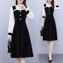 Dress Spring 2021 black M,L,XL,2XL,3XL,4XL Mid length dress singleton  Long sleeves commute Others Type A Korean version