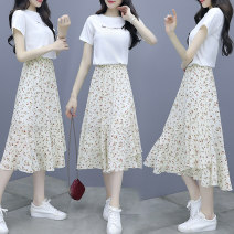 Dress Summer 2021 Green, yellow, orange, white + apricot skirt, white + black skirt, purple daisy skirt, picture color S,M,L,XL,XXL Middle-skirt Two piece set Short sleeve commute V-neck middle-waisted routine Others 25-29 years old Korean version Chiffon