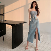 skirt Summer 2021 S,M,L,XL Blue, black Mid length dress commute High waist Type A 18-24 years old 0086# other Other / other other