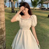 Dress Summer 2021 White, black S, M Short skirt singleton  Short sleeve Sweet square neck High waist Solid color puff sleeve Others 18-24 years old Type A Other / other