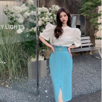 skirt Summer 2021 M. L, average size White top, pink top, blue hip skirt, pink hip skirt Mid length dress Versatile High waist skirt Other / other