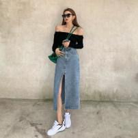 skirt Autumn 2020 S. M, l, average size Black top, denim skirt Middle-skirt Versatile High waist Irregular Solid color Type A 751# Denim Other / other other