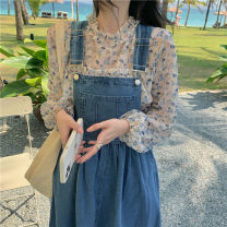 Dress Summer 2021 Floral Chiffon shirt, denim strap skirt S. M, average size Short skirt Two piece set Sleeveless commute straps Other / other
