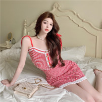 Dress Summer 2021 Picture color Average size Short skirt singleton  Sleeveless commute Crew neck High waist stripe Socket puff sleeve camisole 18-24 years old Other / other 31% (inclusive) - 50% (inclusive) other cotton