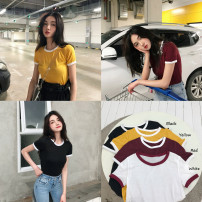 T-shirt White yellow wine red black Average size Summer of 2018 Short sleeve Crew neck Self cultivation have cash less than that is registered in the accounts commute cotton 96% and above 18-24 years old Korean version Other / other Nine hundred and fifty-three