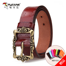 Belt / belt / chain Double skin leather Earthy yellow white pink (plum red) blue brown reddish brown black female belt Versatile Single loop youth Pin buckle other printing 3.3cm alloy Ginning Tucano / woodpecker WDB5052 Spring and summer 2017