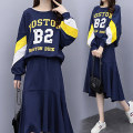 Women's large Autumn 2020 Picture color Big XL [recommended 100-120 kg], big 2XL [recommended 120-140 kg], big 3XL [recommended 140-160 kg], big 4XL [recommended 160-180 kg] Other oversize styles Two piece set commute easy moderate Socket Long sleeves Korean version Crew neck Collage routine
