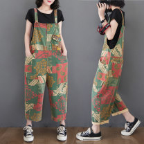Women's large Spring 2021 Picture color Big L, big XL, big M trousers singleton  commute Straight cylinder moderate Conjoined literature 30-34 years old pocket trousers