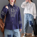 Women's large Spring 2021 White, Navy One size fits all [recommended 100-170 kg] shirt singleton  commute easy moderate Cardigan Long sleeves literature Polo collar Three dimensional cutting routine 25-29 years old Button