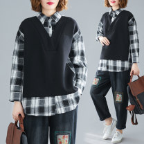 Women's large Spring 2021 Picture color Large L [100-140 Jin recommended], large XL [140-180 Jin recommended] shirt singleton  commute Straight cylinder moderate Socket Long sleeves literature Polo collar routine 30-34 years old