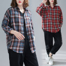 Women's large Spring 2021 shirt singleton  commute Straight cylinder moderate Cardigan Long sleeves literature Polo collar routine 25-29 years old Button
