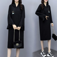 Women's large Spring 2020 black Big XL [recommended 100-120 kg], big 2XL [recommended 120-140 kg], big 3XL [recommended 140-160 kg], big 4XL [recommended 160-180 kg], big 5XL [recommended 180-200 kg] Dress singleton  commute Straight cylinder moderate Socket Long sleeves Korean version Hood other