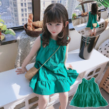 Dress Grass green female Other / other (90cm),(100cm),(110cm),(120cm),(130cm) Other 100% summer leisure time Skirt / vest 2 years old, 3 years old, 4 years old, 5 years old, 6 years old, 7 years old