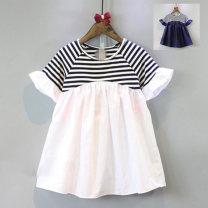 Dress White stripe, blue stripe female Other / other 100cm(7),110cm(9),120cm(11),130cm(13),140cm(15) Other 100% summer leisure time 2, 3, 5, 4, 6, 7