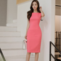 Dress Summer 2021 Watermelon red S,M,L,XL Mid length dress singleton  commute Crew neck middle-waisted Solid color Socket One pace skirt Others 25-29 years old Other / other Korean version 81% (inclusive) - 90% (inclusive) brocade other