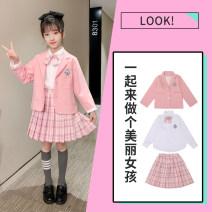 Dress female Sheng Baoer Other 100% spring and autumn Korean version Long sleeves lattice blending A-line skirt Spring 2021 3 years old, 4 years old, 5 years old, 6 years old, 7 years old, 8 years old, 9 years old, 10 years old, 11 years old, 13 years old, 14 years old