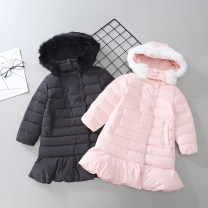 Down Jackets 90% White duck down female Other / other Red, pink, black polyester Medium length Detachable cap double-breasted Solid color Class C Polyester 100% Polyester 100% solar system