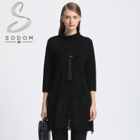 Dress Spring of 2018 Black / H98 S,M,L,XL,XXL Middle-skirt singleton  Nine point sleeve commute Pile collar Loose waist Solid color Socket Pencil skirt routine Others 35-39 years old Type H Sodom / Shun Retro Cut out, lace 981CL438 More than 95% knitting other