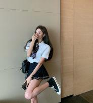 Fashion suit Summer 2020 S,M,L White shirt, black skirt, Navy skirt
