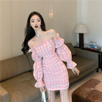 Dress Autumn 2020 Pink S,M,L Short skirt Long sleeves One word collar puff sleeve