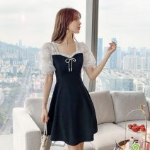 Dress Summer 2021 black S,M,L,XL Short skirt singleton  Short sleeve commute V-neck High waist Solid color zipper A-line skirt routine Breast wrapping 18-24 years old Type A Korean version Hollowed out, Gouhua hollowed out, splicing, gauze mesh, zipper, lace 31% (inclusive) - 50% (inclusive) Lace