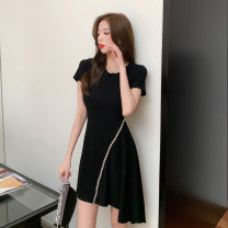 Dress Summer 2021 black S,M,L,XL Short skirt singleton  Short sleeve commute Crew neck middle-waisted Solid color Socket Irregular skirt routine Others 18-24 years old Type X Hollowing out
