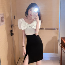 Dress Summer 2020 White and black S,M,L Short skirt singleton  Short sleeve commute square neck High waist Solid color zipper Pencil skirt puff sleeve Others 18-24 years old Type A Bowknot, stitching, zipper 91% (inclusive) - 95% (inclusive) other