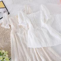 Dress Spring 2021 White, apricot S, M Mid length dress singleton  Short sleeve commute Socket Type X Other / other Korean version other