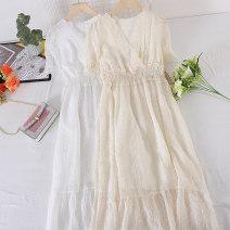 Dress Summer 2021 White, apricot M, L Mid length dress singleton  Short sleeve commute V-neck Socket Type A Other / other Korean version other