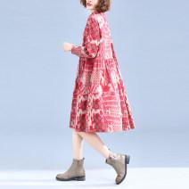 Dress Spring 2020 Blue, red M,L,XL,2XL Mid length dress singleton  Long sleeves commute Polo collar Loose waist Socket ethnic style