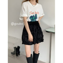 skirt Summer 2021 Average size White, black Short skirt commute High waist A-line skirt Solid color Type A 18-24 years old More than 95% other other Korean version