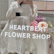 Dress Summer 2021 White lace dress Average size Mid length dress singleton  Long sleeves commute other Loose waist other Socket A-line skirt pagoda sleeve Others 18-24 years old Type A Korean version Lace 6309# 91% (inclusive) - 95% (inclusive) other other