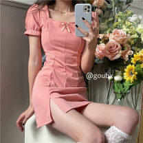 Dress Spring 2021 Pink, black S,M,L Short skirt singleton  Short sleeve commute square neck High waist Solid color Socket A-line skirt routine Others 18-24 years old Type H Korean version bow other other