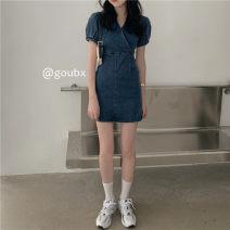 Dress Summer 2021 Denim blue S,M,L Short skirt singleton  Short sleeve commute V-neck High waist Solid color Socket A-line skirt other Others 18-24 years old Type A Korean version other other