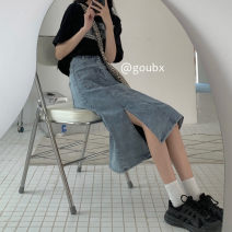 skirt Summer 2021 S,M,L,XL blue Mid length dress commute High waist Denim skirt Solid color Type A 18-24 years old other other Korean version
