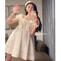 Dress Summer 2021 white Average size Short skirt singleton  Short sleeve commute Loose waist Solid color Socket A-line skirt other Others 18-24 years old Type A Korean version bow other other