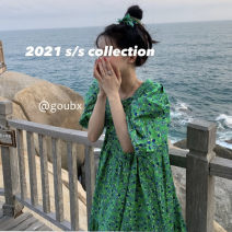 Dress Summer 2021 Decor Average size Middle-skirt singleton  Short sleeve commute square neck High waist Broken flowers Socket A-line skirt puff sleeve Others 18-24 years old Type H Korean version other other