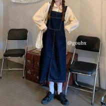Dress Autumn 2020 S. M, average size Miniskirt singleton  Sleeveless commute other Loose waist Solid color Socket A-line skirt straps 18-24 years old Type A Korean version pocket