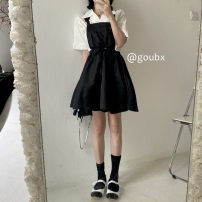 Dress Summer 2021 Shirt, dress s, dress M Average size Short skirt singleton  Sleeveless commute other High waist Solid color Socket A-line skirt routine straps 18-24 years old Type A Korean version other other