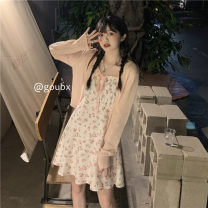 Dress Summer 2021 knitting , braces skirt Average size Short skirt singleton  Sleeveless commute other High waist Broken flowers Socket A-line skirt routine camisole 18-24 years old Type A Korean version A846# 81% (inclusive) - 90% (inclusive) other other